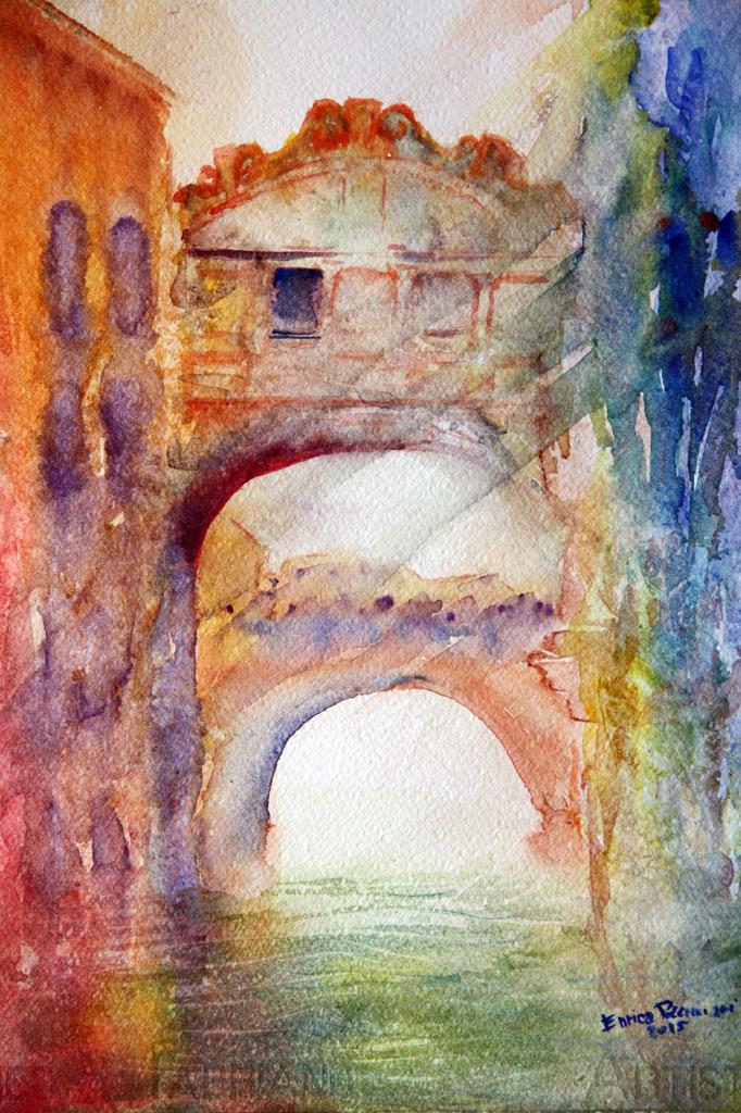 Venezia Ponte dei Sospiri Acquerello 39x28 - 2015