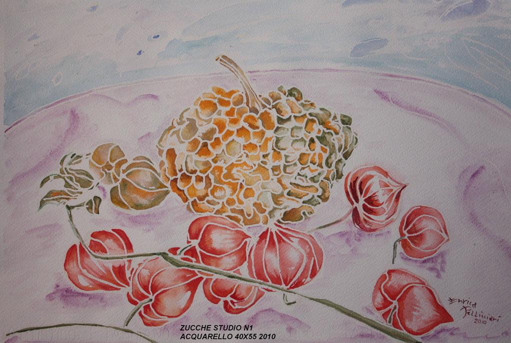 Zucche studio n. 1 Acquerello 55x40 - 2010