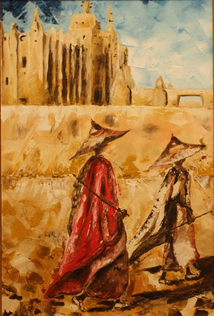 Mali - la moschea d'argilla olio su tela tecnica spatola 60x40 - 2008