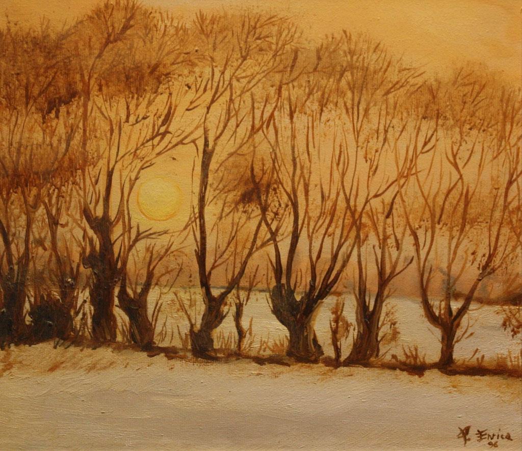 Paesaggio invernale olio su tela 35x30 - 1997
