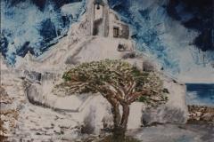 Mykonos - Chiesa di Paraporziano olio su tela 30X40 - 2008