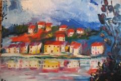 Tetti rossi olio su tela 40x50 - 1997 collezione privata