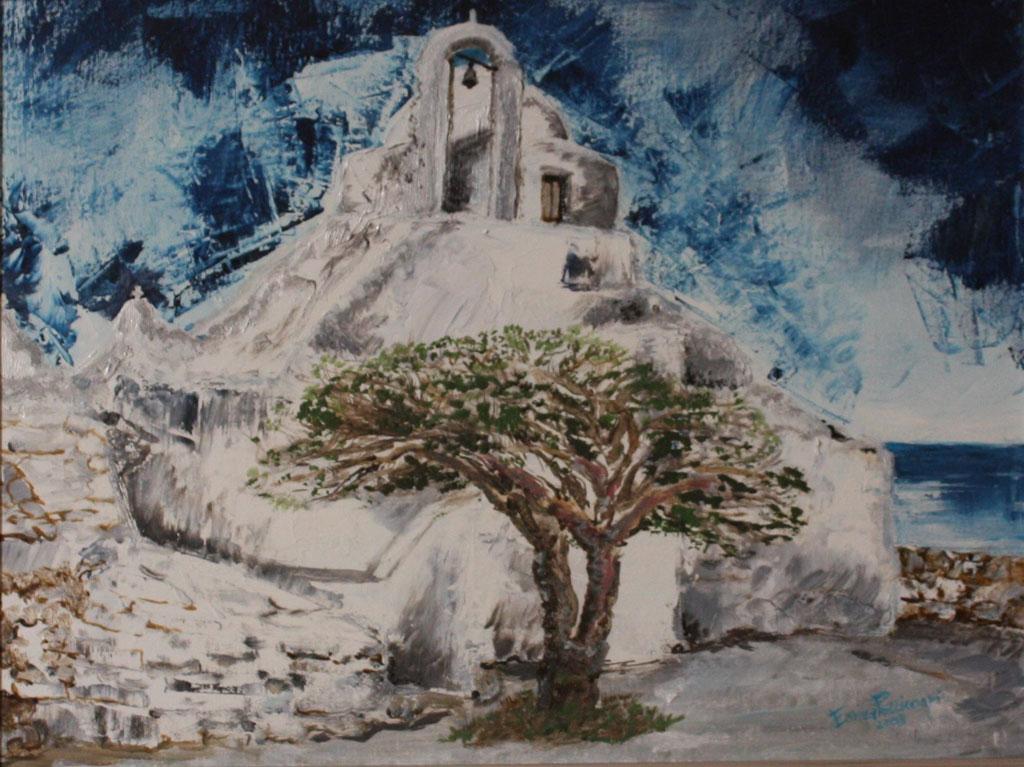 Mykono-chiesa-di-Parapoziano-olio-su-tela30X40-2008
