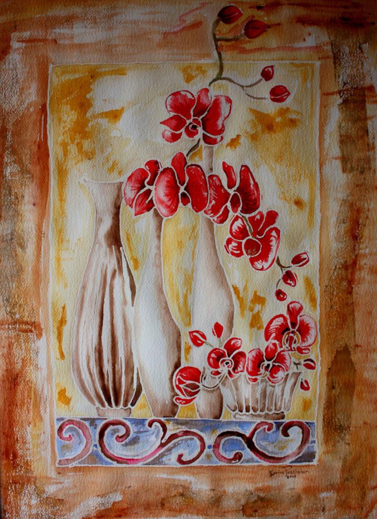Composizione con orchidee Acquerello 75x55 - 2008 collezione privata