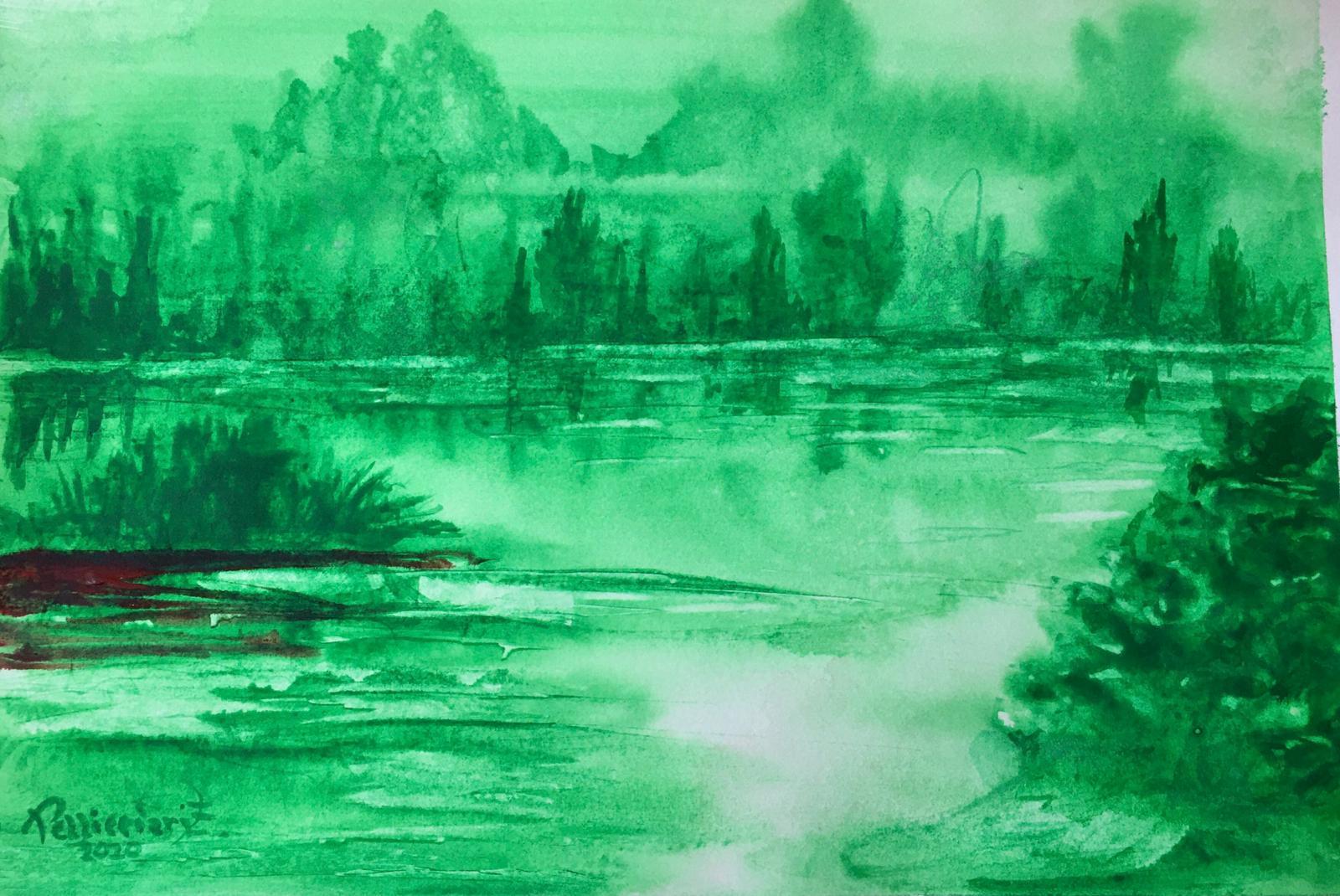 Il nostro fiume in golena Acquerello 23,7x42 - 2020
