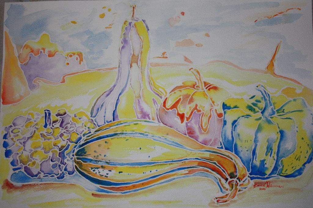 Zucche studio n. 3 Acquerello 55x40 - 2010