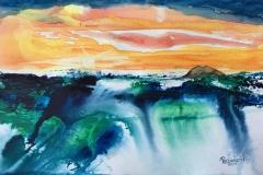 Parghelia tramonto con veduta dello Stromboli Acquerello 29,7x42 - 2020