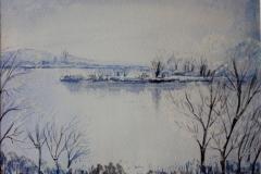 Inverno sul Po Acquerello 48x37 - 2008