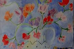 Studio con vaso di fiori Acquerello