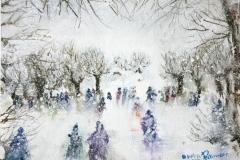 Inverno nevicata Acquerello 23 x 30.5 - 2015