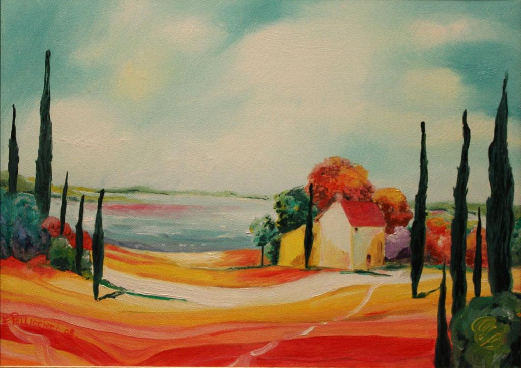 Paesaggio toscano olio su tela 30x40 - 2008