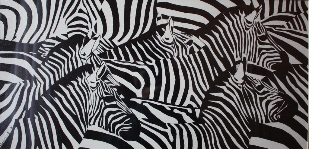 Zebre olio su tela 60x30 - 1996