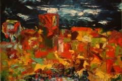 Citta' olio su tela tecnica a spatola 70x50 - 1982 collezione privata
