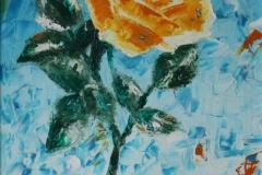 Rosa olio su tela tecnica a spatola 35X50 - 1996