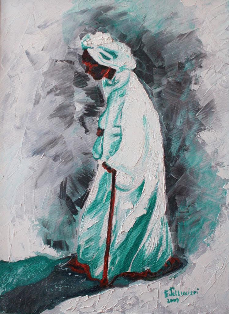 Uomo del Cairo olio su tela tecnica a spatola 40x30 - 2009