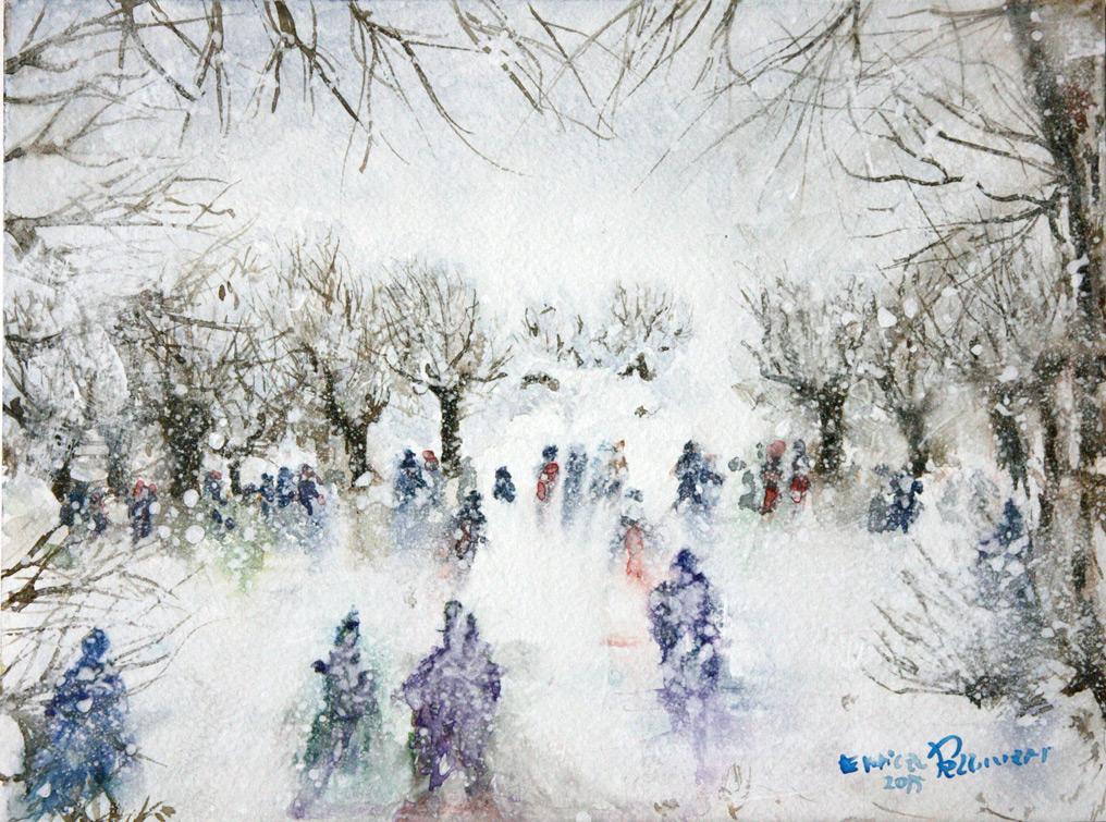 Inverno-nevicata-Acquerello-23x-30.5-2015